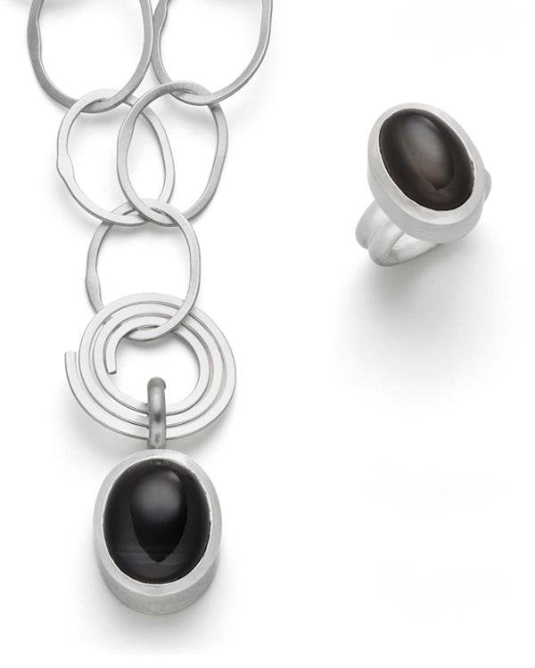 Ring und Anhänger schwarzer Mondstein 925 Silber